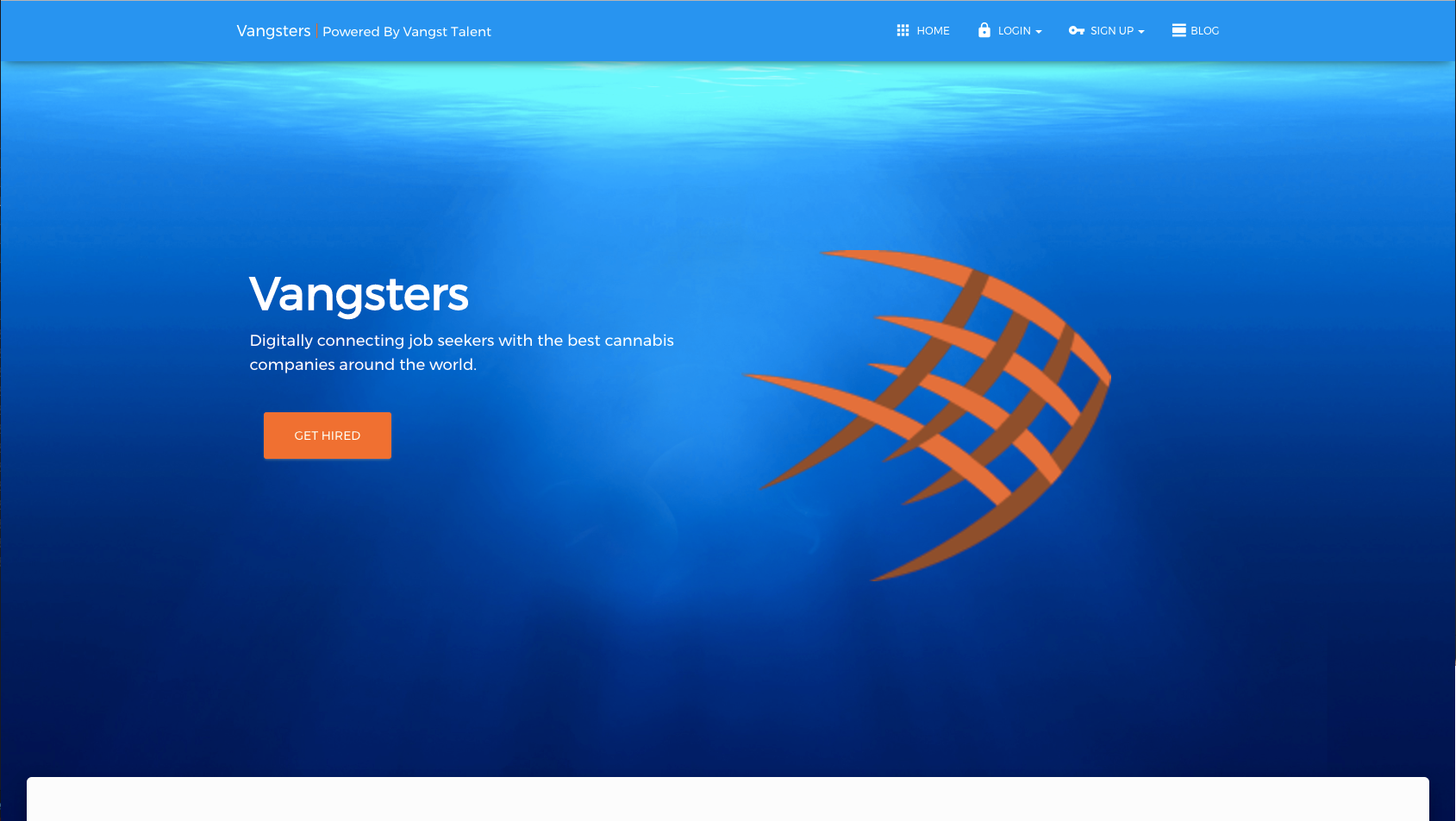 Picture of Vangsters.com cannabis jobs board splash page